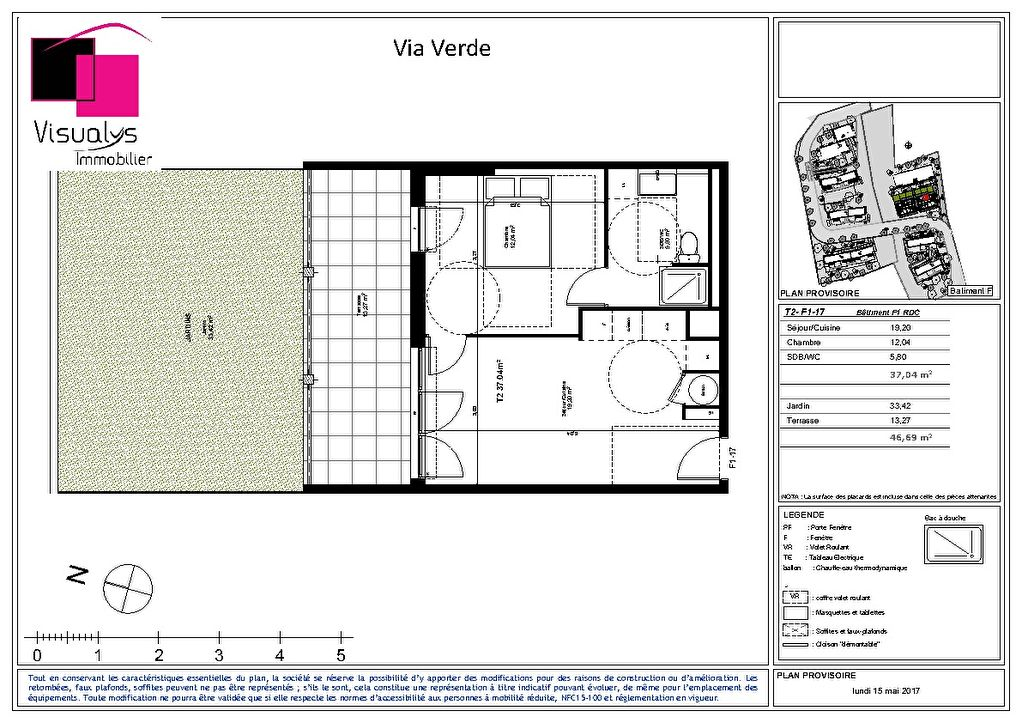 A vendre appartement T2 de 37 m² avec terrasse La Croix Rouge 13013 Marseille