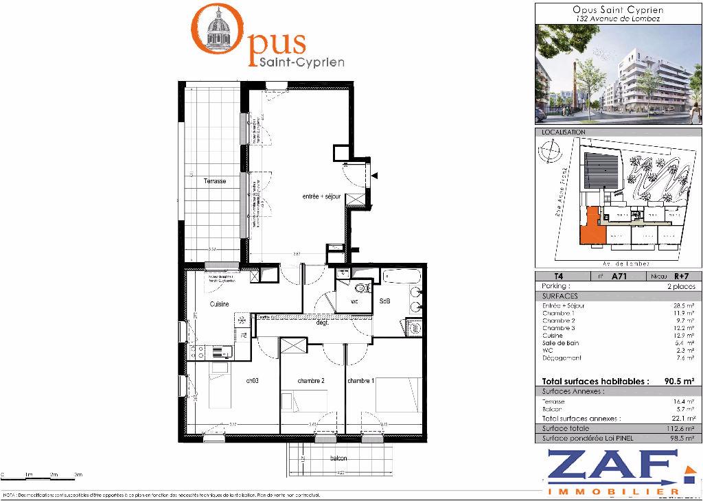A vendre TOULOUSE 31300 Appartement T4 90,50 m2