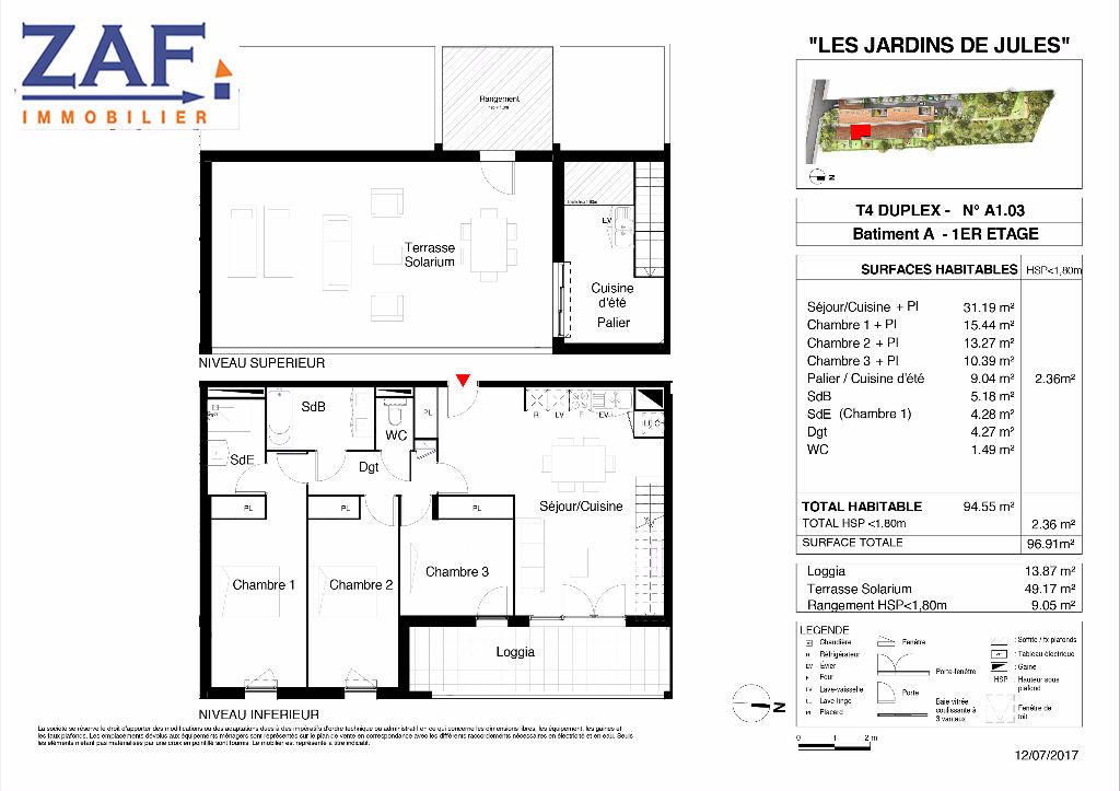 A Vendre  TOULOUSE LARDENNE Appartement  5 pièce(s) 91,97 m2